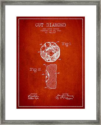 Cut Diamond Patent From 1910 - Red Framed Print by Aged Pixel