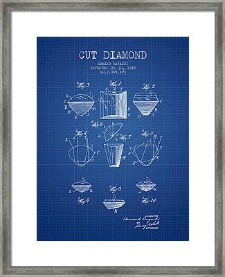 Cut Diamond Patent From 1935 - Blueprint Framed Print by Aged Pixel