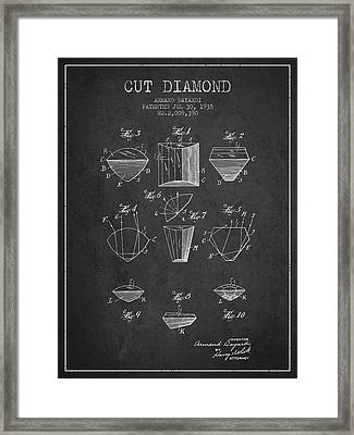 Cut Diamond Patent From 1935 - Charcoal Framed Print by Aged Pixel