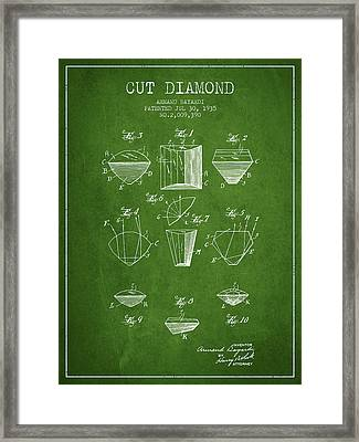 Cut Diamond Patent From 1935 - Green Framed Print by Aged Pixel