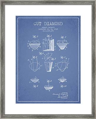 Cut Diamond Patent From 1935 - Light Blue Framed Print by Aged Pixel