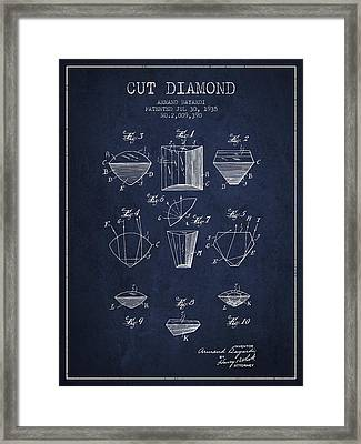 Cut Diamond Patent From 1935 - Navy Blue Framed Print by Aged Pixel