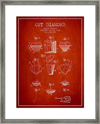 Cut Diamond Patent From 1935 - Red Framed Print by Aged Pixel