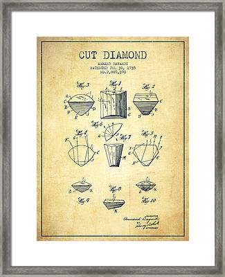 Cut Diamond Patent From 1935 - Vintage Framed Print by Aged Pixel