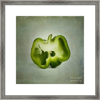Cut Green Bell Pepper Framed Print by Bernard Jaubert