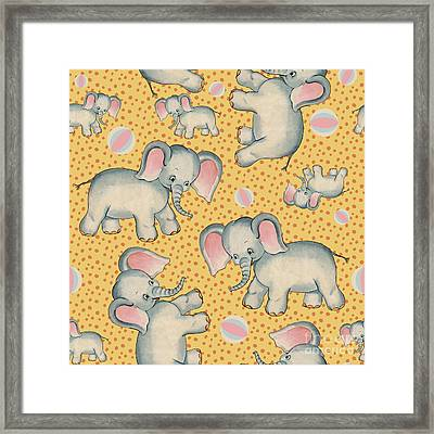 Cute Baby Elephant Pattern Vintage Illustration For Children Framed Print by Tina Lavoie