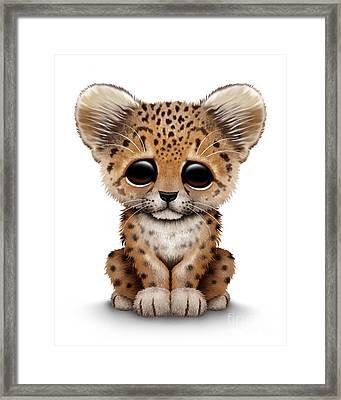 Cute Baby Leopard Cub Framed Print by Jeff Bartels