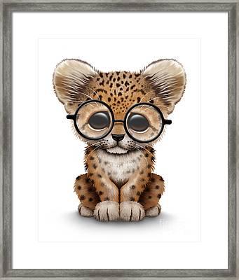 Cute Baby Leopard Cub Wearing Glasses Framed Print by Jeff Bartels