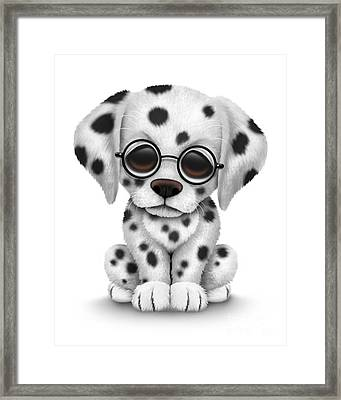 Cute Dalmatian Puppy Dog Wearing Eye Glasses Framed Print by Jeff Bartels