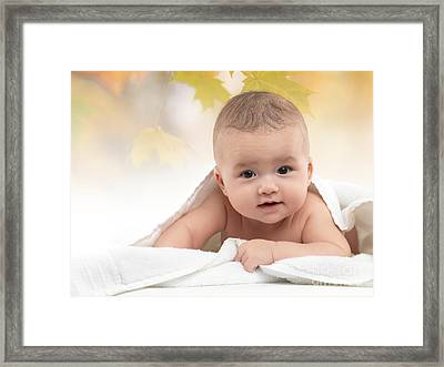 Cute Four Month Old Baby Boy Framed Print by Oleksiy Maksymenko
