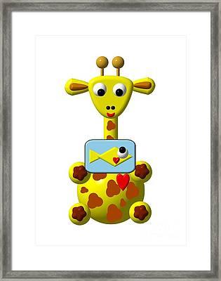 Cute Giraffe With Goldfish Framed Print by Rose Santuci-Sofranko