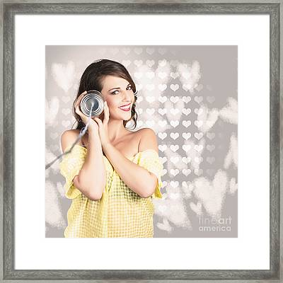 Cute Girlfriend Receiving Message Of Love Framed Print by Jorgo Photography - Wall Art Gallery
