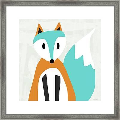 Cute Orange And Blue Fox- Art By Linda Woods Framed Print by Linda Woods