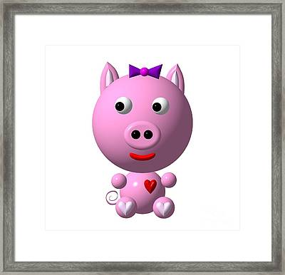 Cute Pink Pig With Purple Bow Framed Print by Rose Santuci-Sofranko
