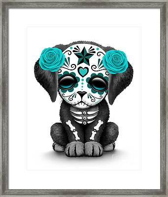 Cute Teal Blue Day Of The Dead Sugar Skull Dog  Framed Print by Jeff Bartels