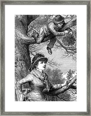 Cutting The Mistletoe Bough For Christmas Decoration Framed Print by English School