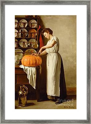 Cutting The Pumpkin Framed Print by Franck-Antoine Bail