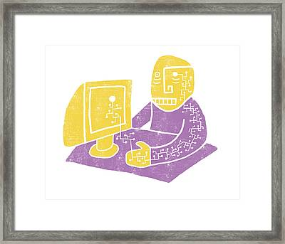Cyber Employee Framed Print by Daniel Unger