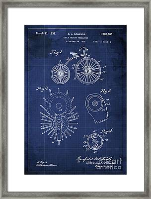 Cycle Driving Mechanism Patent Blueprint Year 1930 Blue Background Framed Print by Pablo Franchi