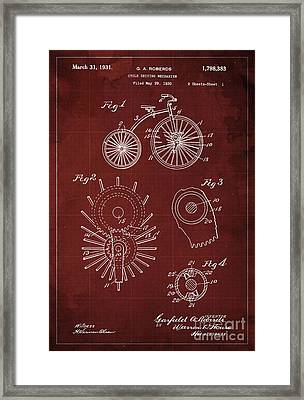 Cycle Driving Mechanism Patent Blueprint Year 1930, Red Background Framed Print by Pablo Franchi