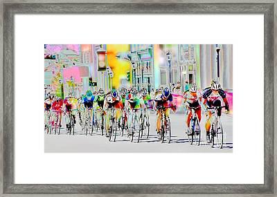 Cycling Down Main Street Usa Framed Print by Vicki Pelham