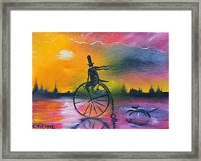 Cycling In The Embers Of The Day Framed Print by Jason Etienne