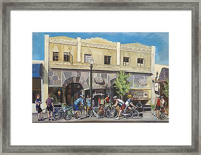 Cyclists At The Roasters Framed Print by Colleen Proppe