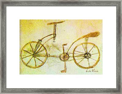Da Vinci Inventions First Bicycle Sketch By Da Vinci Framed Print by Tony Rubino