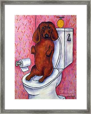 Dachshund In The Bathroom Framed Print by Jay  Schmetz