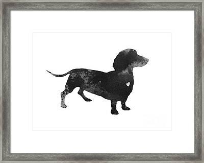 Dachshund Watercolor Black Silhouette Framed Print by Joanna Szmerdt