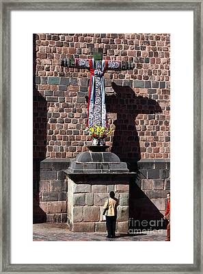 Daily Worship In Cusco Framed Print by James Brunker