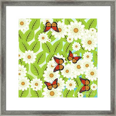 Daisies And Butterflies Framed Print by Gaspar Avila