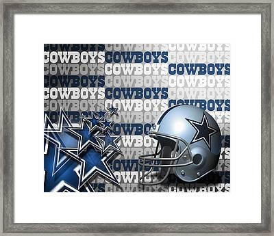 The Dallas Cowboys Football Team Helmet And Stars Framed Print by Donna Wilson