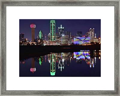 Dallas Reflecting At Night Framed Print by Frozen in Time Fine Art Photography