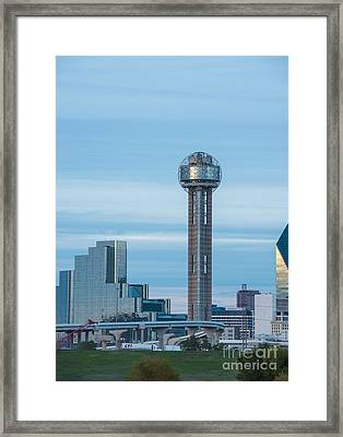 Dallas Reunion Tower View Dusk Framed Print by Tod and Cynthia Grubbs