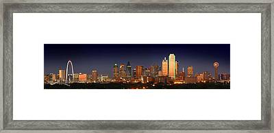 Dallas Skyline At Dusk  Framed Print by Jon Holiday