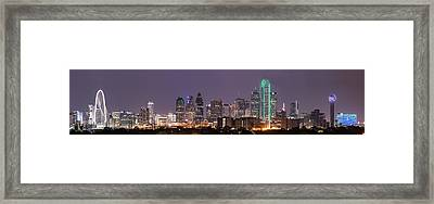 Dallas Skyline At Night Pano Framed Print by Tod and Cynthia Grubbs