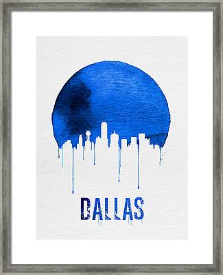 Dallas Skyline Blue Framed Print by Naxart Studio