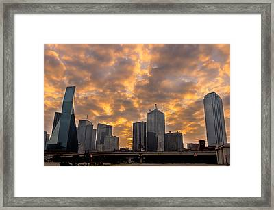 Dallas Skyline Framed Print by Drew Castelhano
