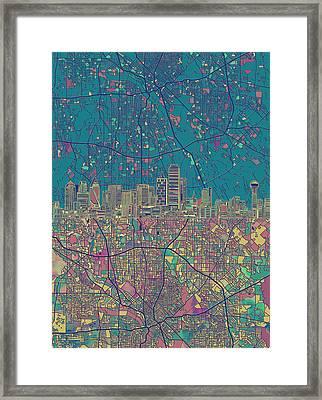 Dallas Skyline Map Green Framed Print by Bekim Art
