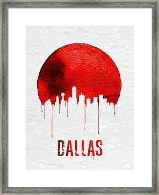 Dallas Skyline Red Framed Print by Naxart Studio