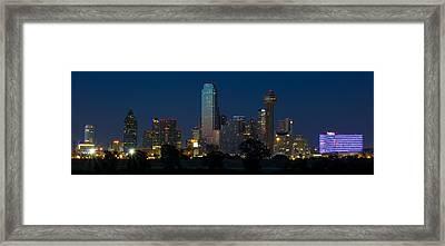 Dallas Skyline Trinity Panorama Framed Print by Jonathan Davison