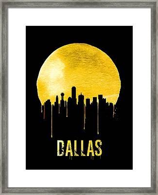 Dallas Skyline Yellow Framed Print by Naxart Studio