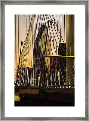 Dallas Through Bridge Framed Print by David Clanton