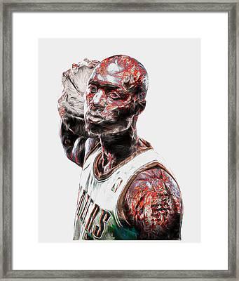 Damian Lillard Portland Trailblazers Digital Painting 25 Framed Print by David Haskett