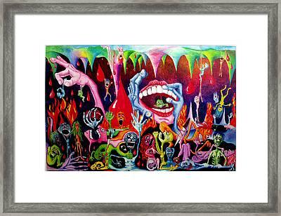 Damnation Of The Evil Framed Print by Nancy Mueller