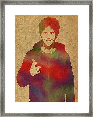 Dana Carvey Comedian Actor Watercolor Portrait On Canvas Framed Print by Design Turnpike