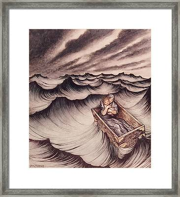 Danae And Her Son Perseus Put In A Chest And Cast Into The Sea Framed Print by Arthur Rackham