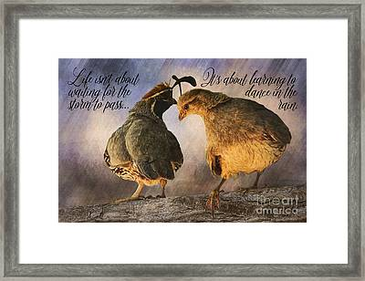 Dance In The Rain Framed Print by Priscilla Burgers