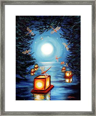 Dance Of The Dragonflies Framed Print by Laura Iverson